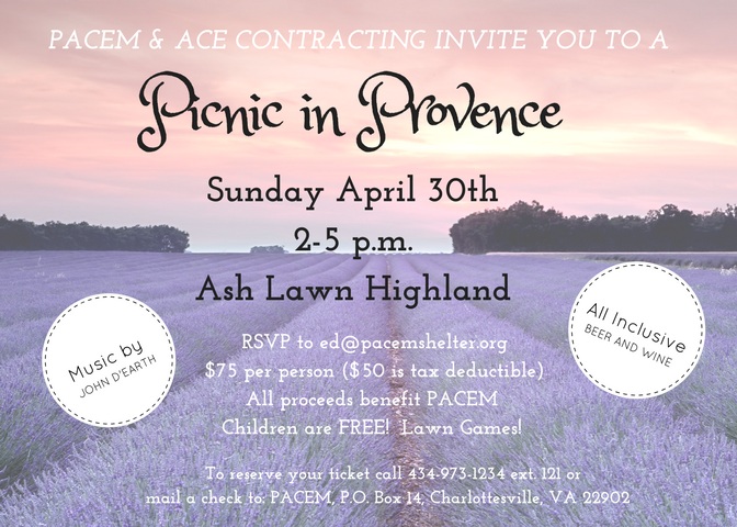 PACEM's Picnic in Provence is April 30th at Ash Lawn Highland