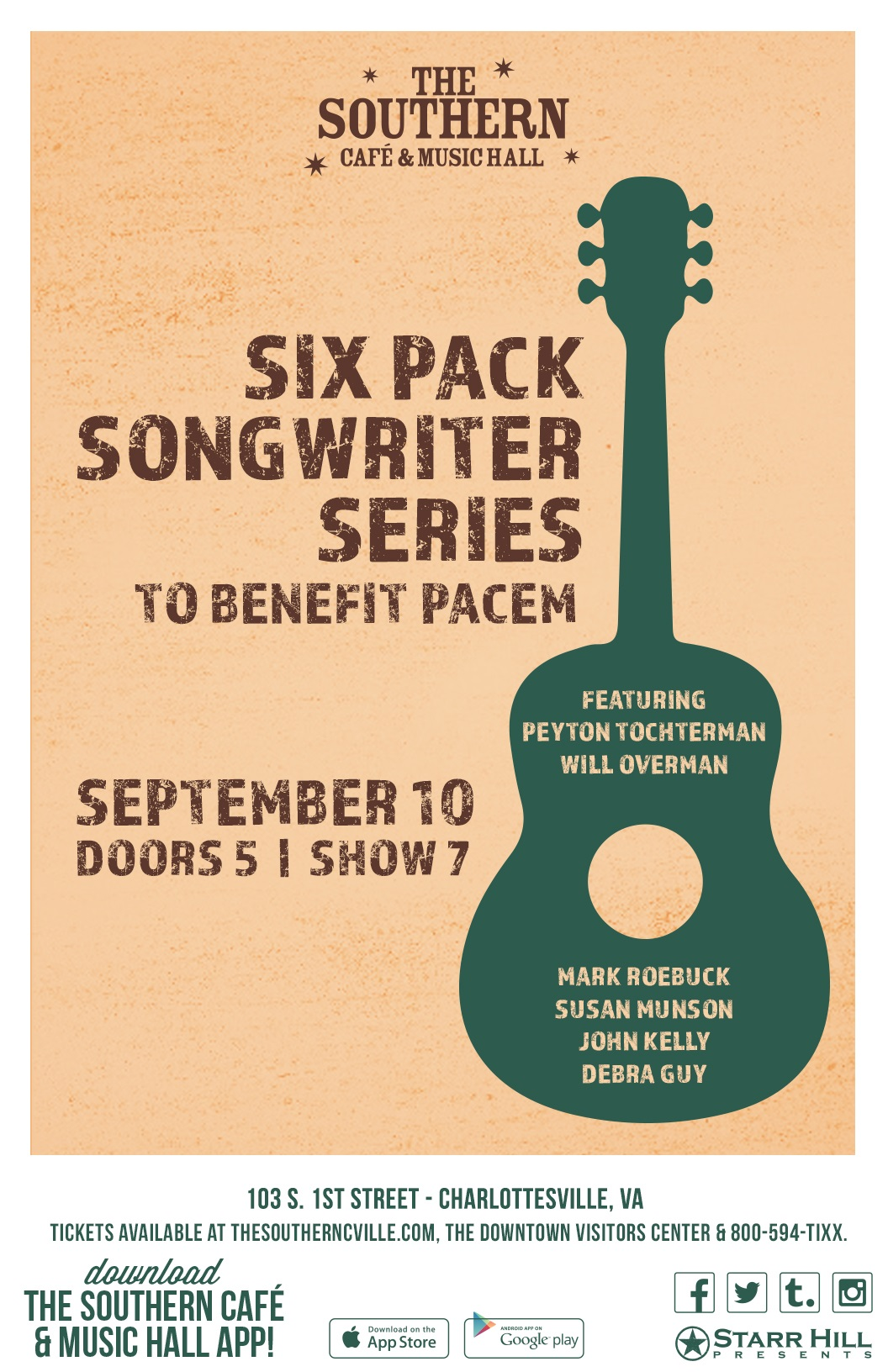 Six Pack Songwriter Showcase to Benefit PACEM