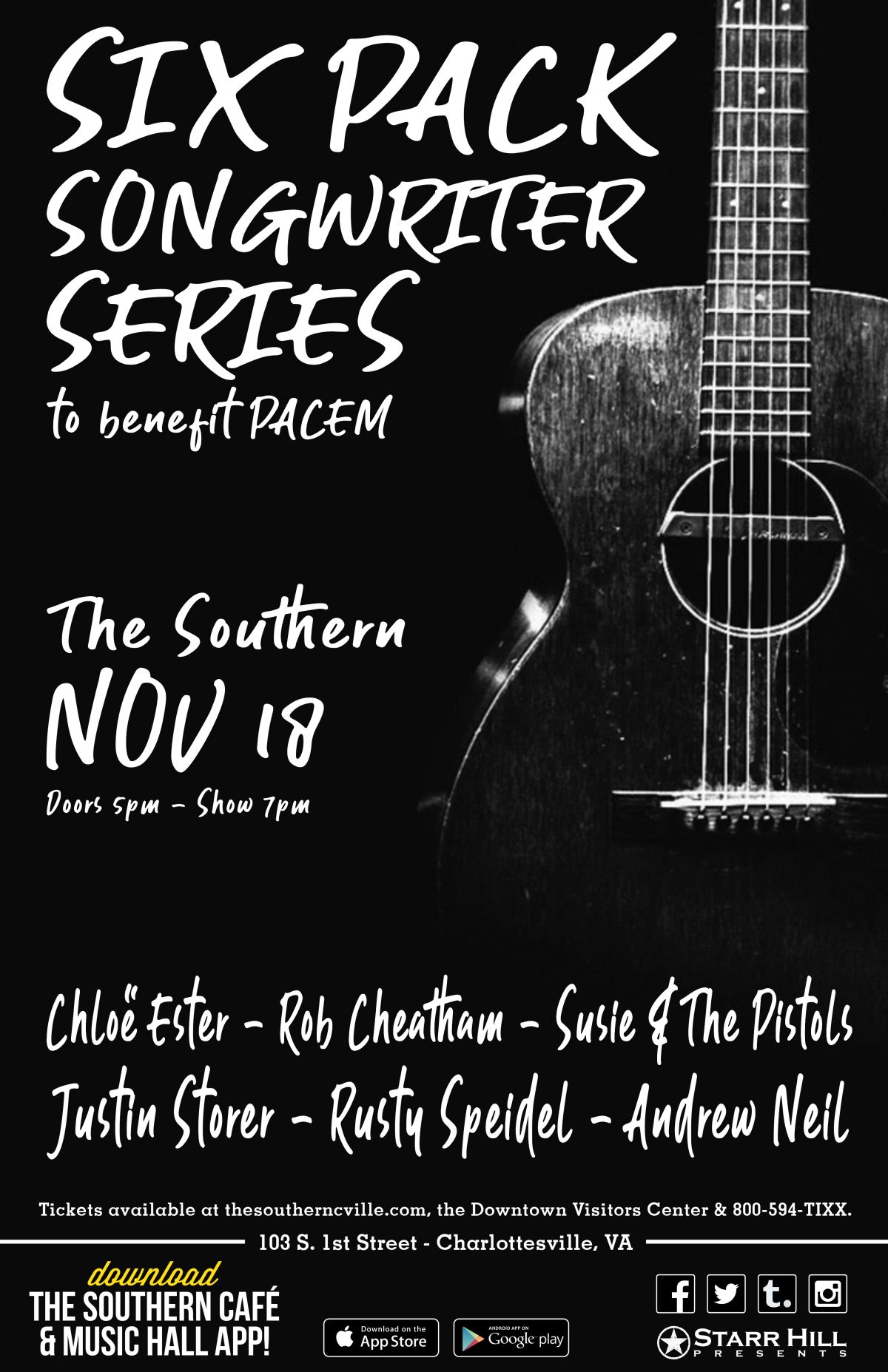 Six Pack Songwriter Series to Benefit PACEM